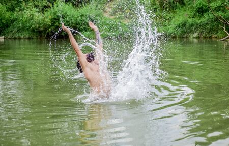 having fun. bearded man swimming in lake. summer vacation. mature swimmer. brutal hipster with wet beard. refreshing in river water. water beast. furry monster. wild man. time to relax