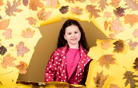 season forecast. kid in autumn leaves. little girl in trendy raincoat. autumn beauty. Happy childhood. little girl in rain protection. Fall fashion. child in positive mood. Perfect place to stay