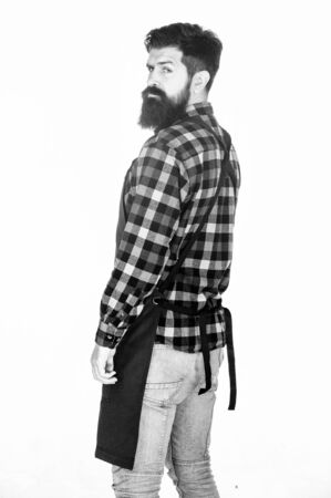His long beard works well. Beard barber isolated on white. Man with long beard and moustache. Bearded man wearing barber apron. Hipster with stylish beard and mustache hair