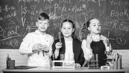 Test tubes with colorful substances. School laboratory. Group school pupils study chemical liquids. Girls and boy student conduct school experiment with liquids. Check result. School chemistry lesson