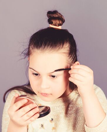 Salon and beauty treatment. Makeup store. Child little girl make up face close up. Pretty girl. Fashion and style. Creativity is best makeup skill. Make up school. Art of makeup. Femininity concept
