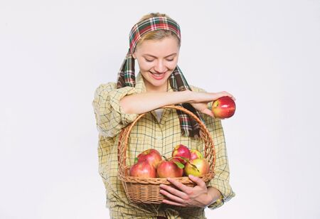Picking best one. organic vegetarian. healthy teeth. Happy woman eating apple. orchard, gardener girl with apple basket. spring harvest. summer fruit. vitamin and dieting food. Choosing best apples