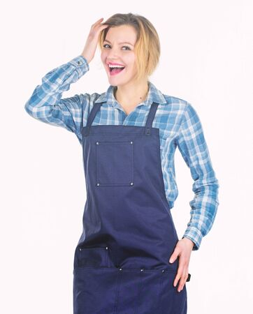 A lot of work. Woman in kitchen apron. food cooking recipe. Picnic barbecue. Pretty girl in chef apron. Preparation and culinary. Family weekend. Cook with passion for family Stock fotó