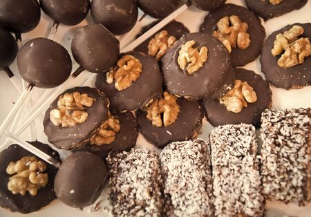 For a good life have a good bite. Mixed biscuits. Dark chocolate covered buiscuits. Baked biscuits food in assorted flavors. Delicious biscuits or cookies