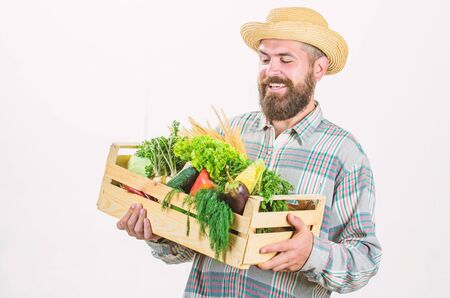 Looking at vegetables. seasonal vitamin food. Useful fruit and vegetable. organic and natural food. happy halloween. bearded mature farmer. harvest festival. man chef with rich autumn crop Foto de archivo