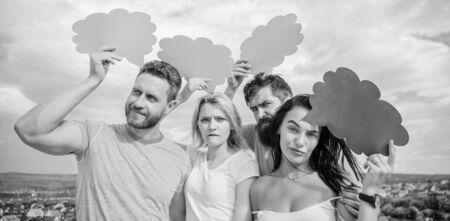 Difference between men and women. Thoughts of different sex. Bearded man and girl with speech bubbles. Diversity concept. Diversity issues. Having own opinion. Diversity interests and thoughts