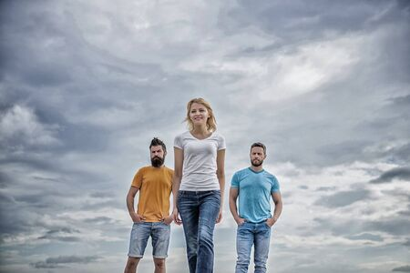 Girl leader qualities possess naturally. Influential women leader. Leadership concept. Woman in front of men feel confident. Moving forward support male team. What makes successful female leader