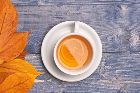 Autumn beauty and drink concept. Hot beverage on saucer