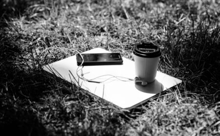 summer vibes. Relax. laptop with headset of mobile phone and coffee to go on green grass. agile business. Online study. university students life. Online shopping. working place outdoor. Free music.