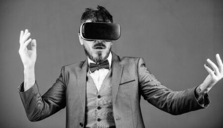 In my virtual world. virtual reality goggles. Modern business. Digital future and innovation. use future technology. bearded man wear wireless VR glasses. businessman in VR headset. Visual reality