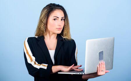 Software developer. Study programming. Blogging concept. Online remote job. Girl with laptop computer. Developer write code. Project manager. Job openings for junior developer. Surfing internet