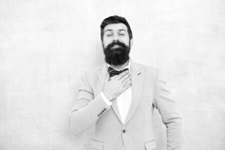 mature businessman in blue jacket. glamour mature hipster male with beard. gentleman go on love date. tuxedo fashion look. bearded man in bow tie. bride groom at wedding party. Used to look perfect Stock Photo