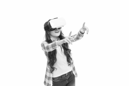 Child wear hmd explore virtual or augmented reality. Future technology. Girl interact cyber reality. Play cyber game and study. Modern education. Alternative education technologies. Virtual education Stock Photo