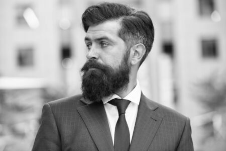 Business life. Man stylish businessman. Successful and motivated for success. Business man bearded wear fashionable suit. Businessman well groomed hairstyle beard. Business concept. Feel confident