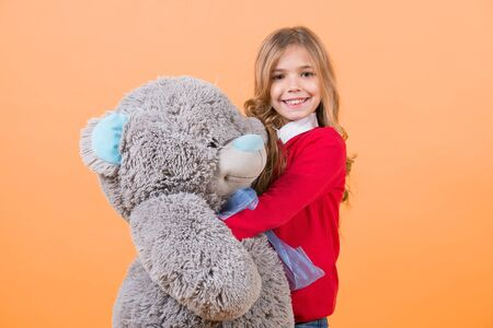 Child smile with grey soft toy Banco de Imagens