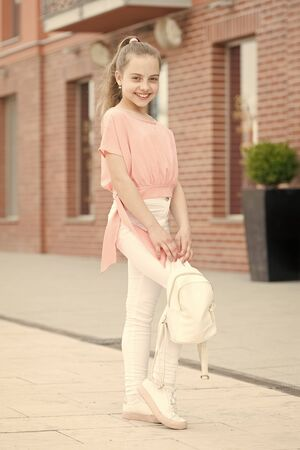Be fashionable, be you. Fashionable look of small vogue model. Adorable fashionable girl on summer day. Little cute child wearing fashionable clothes