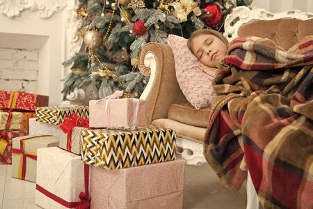 Happy new year. Winter. Christmas tree and presents. xmas online shopping. Family holiday. The morning before Xmas. Little girl sleep. Child enjoy the holiday. Im waiting