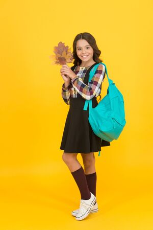 Shaping little minds in school. Happy little girl enjoy autumn. Little child hold yellow leaves. Cute little kid in fall. Small kid back to school. Education and knowledge