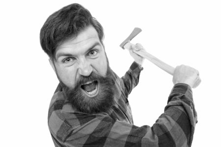 I hate it. Crazy man with axe isolated on white. Brutal lumberjack with crazy look. Bearded hipster in crazy mood threaten with axe. Crazy psycho