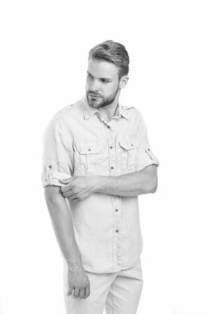 Dont shy away from color. Handsome man in casual fashion isolated on white. Man with unshaved mustache and beard. Blond man with stylish hair. Caucasian man in blue