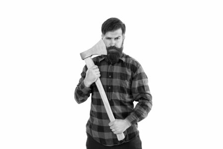 Brutal and bearded. Brutal lumberjack hold axe isolated on white. Hipster keep sharp axe blade at bearded face with brutal look. Brutal man with long beard and mustache going to shave. Barbershop