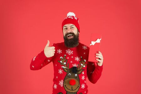 best winter holidays. looking good in this sweater. merry christmas. got xmas gift. seasonal discounts. present from santa. happy new year. cheerful bearded man after shopping. best prices here