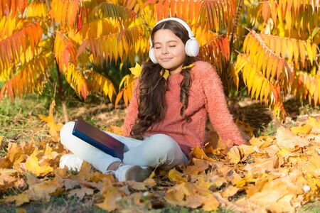 Where elearning begins. Small child elearning on autumn day. Little girl learning online on yellow leaves. Distance education or elearning. Online course. Educational technology. eLearning