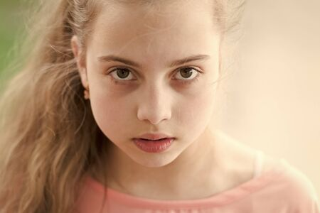 Skincare that loves you back. Beauty look of little skincare model. Adorable small girl with healthy young face skin, skincare. Childrens skincare products and cosmetics