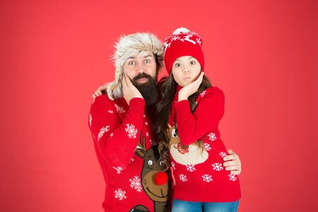 Christmas fun. having fun together. small girl love dad man. xmas memories. dad and daughter celebrate new year. they waiting for santa. family holiday. warm hug in winter season. merry christmas Stock Photo