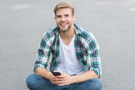 Smartphone always with me. College student use smartphone. Online learning. Modern technologies. Social networks. Useful application. Smartphone best friend. Mobile communication. 4G internet Stock Photo