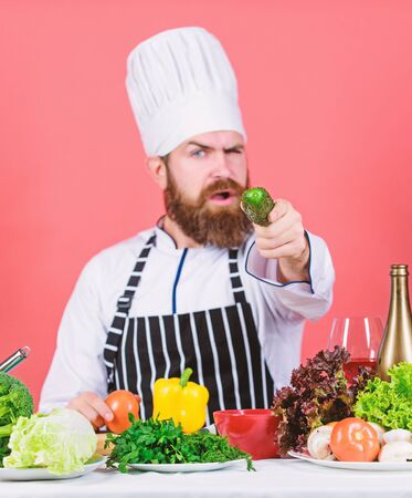 I did it. Healthy food cooking. Vegetarian. Mature chef with beard. Dieting and organic food, vitamin. Bearded man cook in kitchen, culinary. Chef man in hat. Secret taste recipe