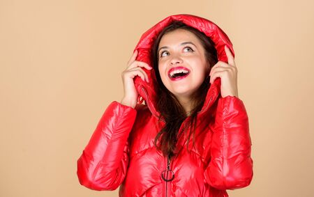Red color. Finding right winter jacket is essential to enjoyable winter season. Snow or rain I am ready for both. Girl enjoy wearing bright jacket with hood. Warm coat. Comfortable down jacket