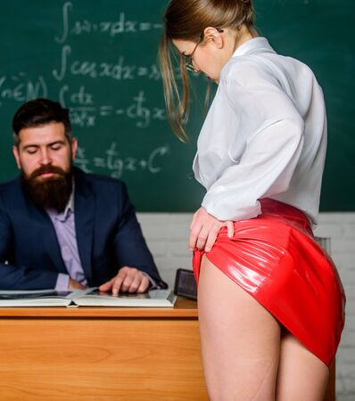 Sexy seduction. Sexy student. University high school. Sexy butt red latex skirt in front of teacher. Looking for help with homework. Seductive offer. Sexual bribe. Check knowledge. Buttocks fetish