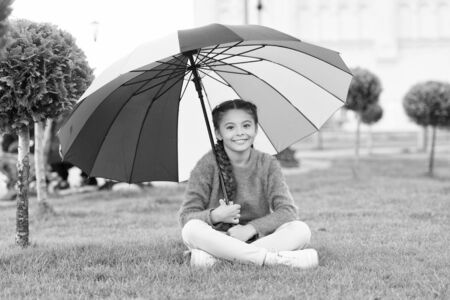 Colorful accessory for cheerful mood. Girl child long hair with umbrella. Colorful accessory positive influence. Bright umbrella. Stay positive and optimistic. Everything better with my umbrella