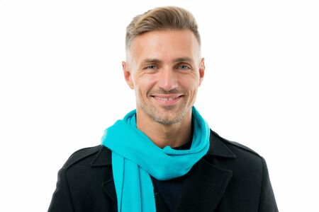 This is what stylish man looks like. Happy man isolated on white. Handsome man smile with fashion accessory. Caucasian mature man with unshaved mustache beard and stylish haircut. Autumn fashion