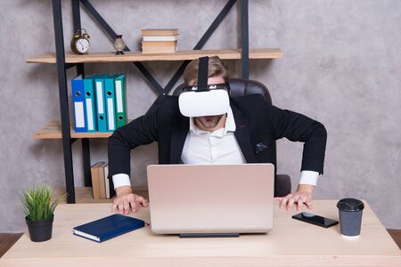 Engineering and design. Modern gadget. Business implement modern technology. Virtual work space. Businessman explore virtual reality. Interact in virtual reality. Man formal suit work 3d cyber space Stok Fotoğraf