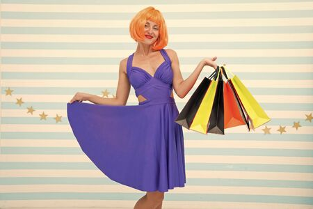 Choosing the best. Fashion. Black Friday sales. Last preparations. big sale in shopping mall. Crazy girl with shopping bags. happy woman go shopping. Happy shopping online. Happy holidays