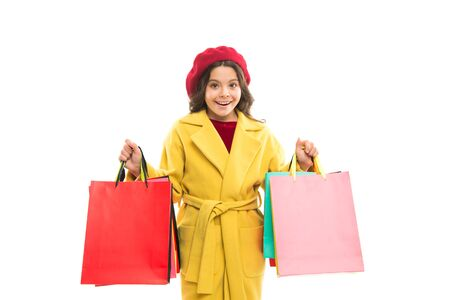 Shopping and purchase. Black friday. Sale discount. Shopping day. Child hold packages. Scoring major discounts. Tips and tricks for profit. Favorite brands and hottest trends. Girl with shopping bags