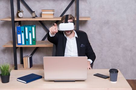 Virtual work space. Businessman explore virtual reality. Interact in virtual reality. Man formal suit work 3d cyber space. Engineering and design. Modern gadget. Business implement modern technology Stok Fotoğraf
