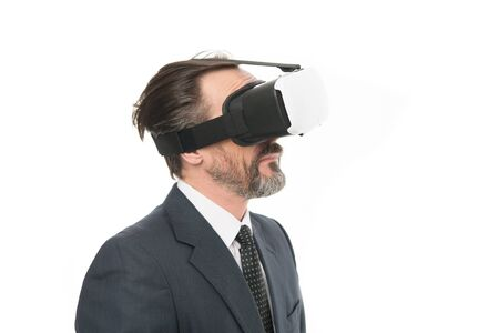 Man bearded formal suit. Digital and cyber technologies. Experimental experience. Business innovation. Vr presentation. Man vr hmd modern technology. Virtual business. Digital business concept.