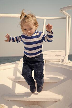 Memories made together last lifetime. Baby boy enjoy vacation sea cruise ship. Child sailor. Boy sailor travelling sea. Boy sailor striped shirt sea yacht travel around world. Little sea traveller