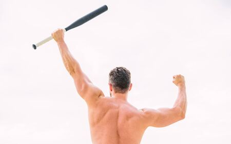 man with baseball bat. Simply the best. muscular back man isolated on white. posing in gym. criminal. Hooligan man hits the bat. Bandit gang and conflict. a full of energy. sport activity and gam