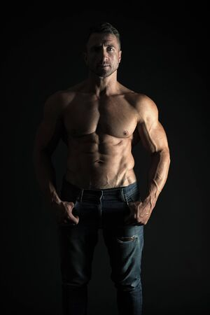 Bodybuilder concept. Masculinity and sport. Improve yourself. Man muscular athlete. Macho handsome with muscular torso. Attractive guy muscular body. Proud of excellent shape. Healthy and strong