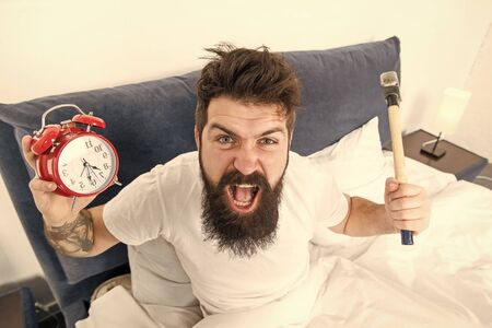 Hateful schedule. Best alarm clocks for people who hate mornings. Man angry hipster hate wake up early. Destructive energy. Hardest moment of day. It is totally normal to hate your alarm sound