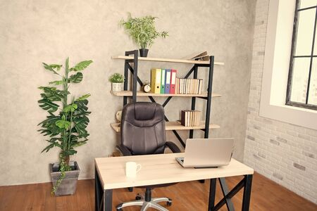 boss office. Interior of empty modern office. Business and workplace. Clean interior of a corporate company. CEO office interior. Loft style office. Furnished with stylish furniture. Loft workplace