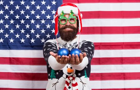 American tradition. Santa Claus on american flag. Celebrate xmas and new year in patriotic way. Tradition of patriotism. Traditional dignity. Christmas tradition from USA. My country my tradition Stock fotó - 133871029