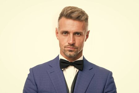 Wedding outfit. Gentleman modern style barber. Barber shop concept. Beard and mustache. Guy well groomed handsome bearded macho wear blue tuxedo. Barber shop offer range of packages for groom 스톡 콘텐츠 - 133950877