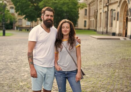 Loving heart is truest wisdom. Couple relaxing enjoying each other. Man bearded hipster and pretty woman in love. Summer vacation. Fall in love. Happy together. Couple in love walking having fun Banco de Imagens