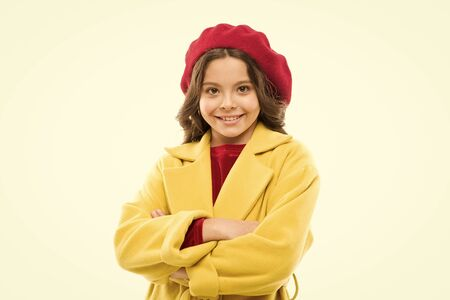 little girl child in french beret. spring fashion. childrens day. France autumn style. childhood happiness. small parisian girl with happy face. french style for kids. autumn trend for french girl
