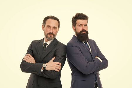 partnership of boss men isolated on white. mature men boss have own business. business meeting. team success. collaboration and teamwork. bearded businessmen in formal suit. boss and employee